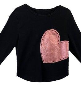 Miss Meme Miss Meme Stitched Foil Heart Top