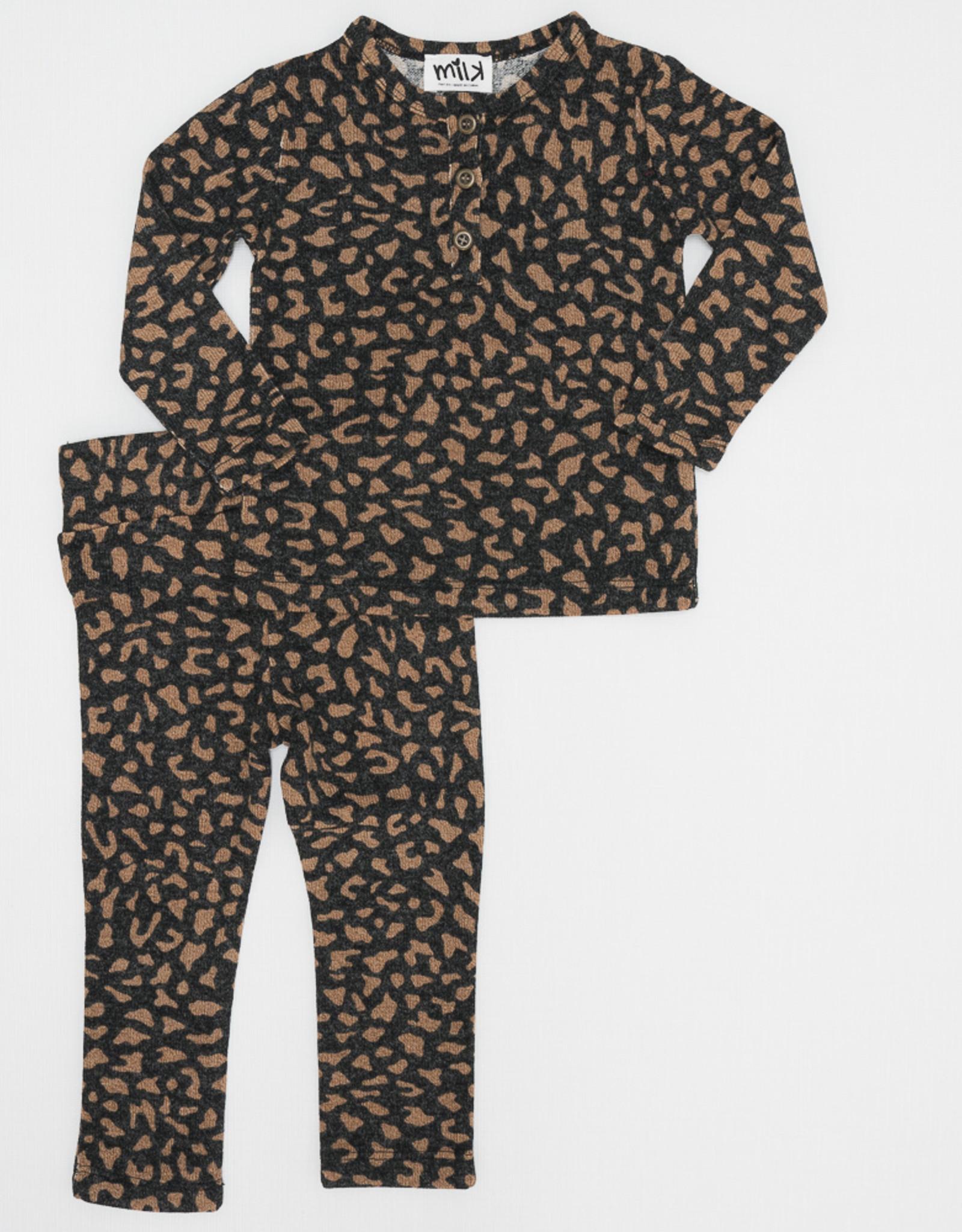 Milk Milk Leopard Baby Set with 3 Buttons (Top/Pants)