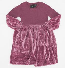 Hopscotch Hopscotch Ribbed Knit Top with Crushed Velvet Bottom Dress