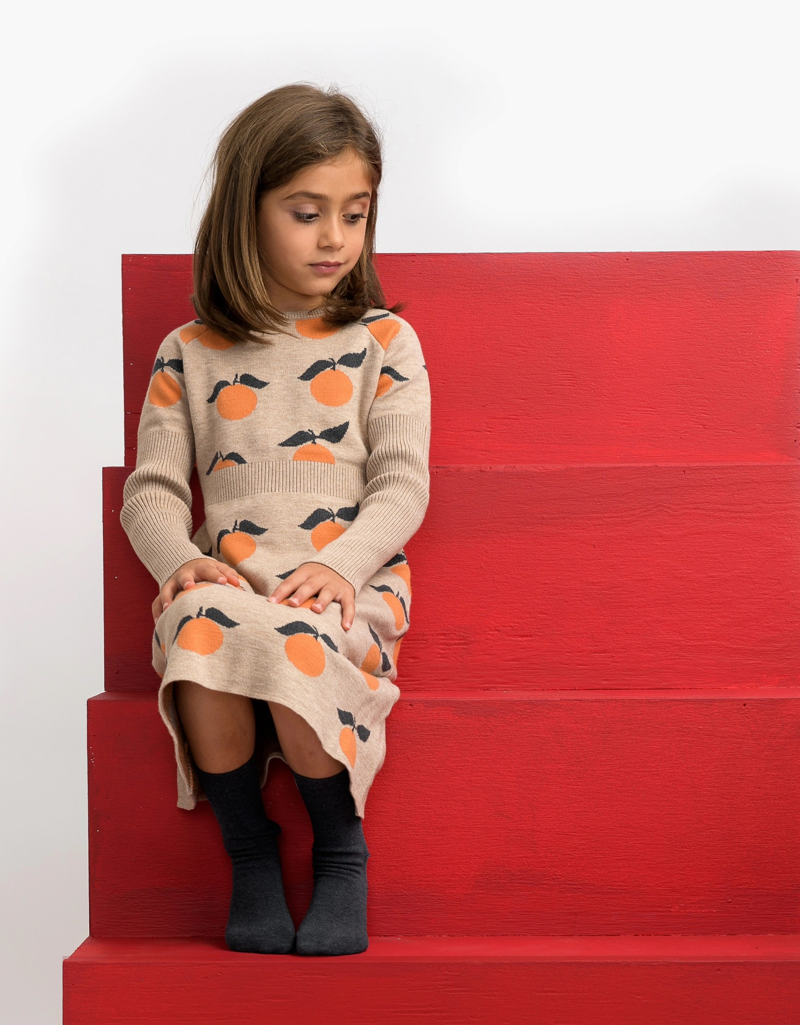 Umbrella Umbrella Peach Pattern Knit Dress
