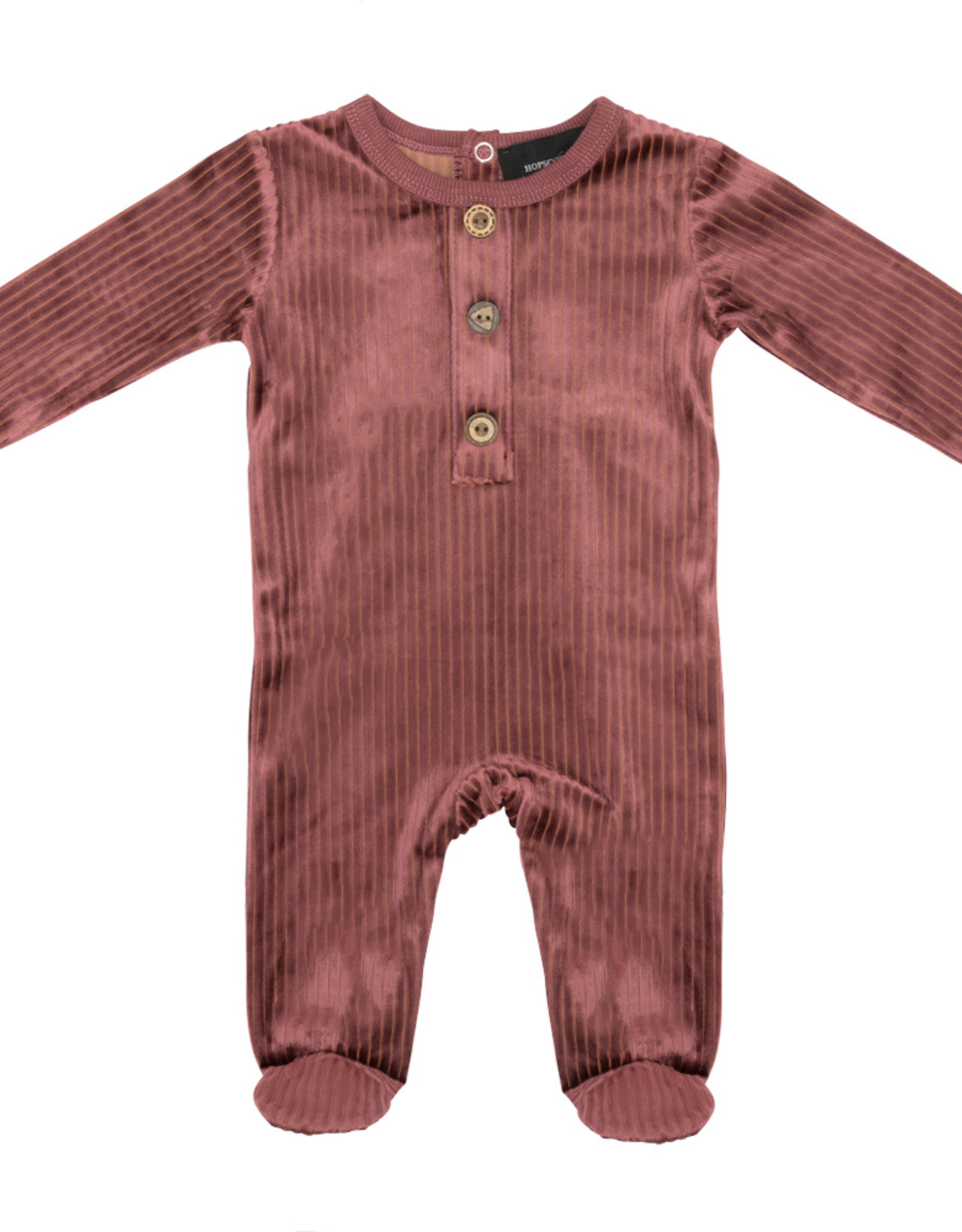 Hopscotch Hopscotch Velour Ribbed Footie Pajama With Button Detail