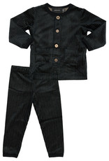 Hopscotch Hopscotch Velour Ribbed Pajama With Button Detail