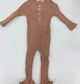 FRAGILE Fragile Button Down Ribbed Footie
