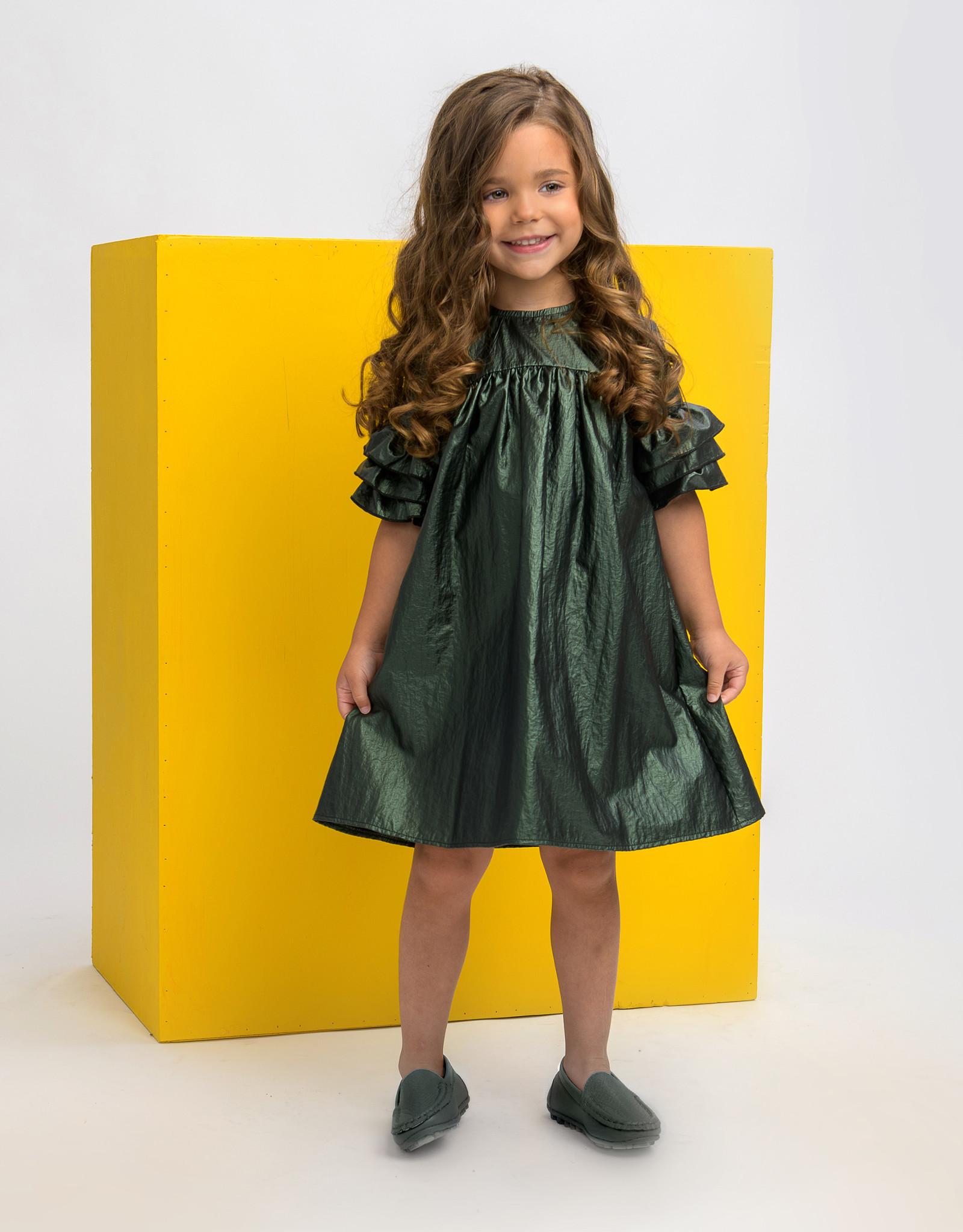 Clo Clo Raincoat Fabric Dress with 3 Ruffles on Sleeve