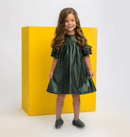 Clo Clo Raincoat Fabric Dress with 3 Ruffles on Sleeve