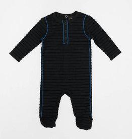 PeekABoo Peek A Boo Horizontal Rib with Contrast Piping Footie Pajama