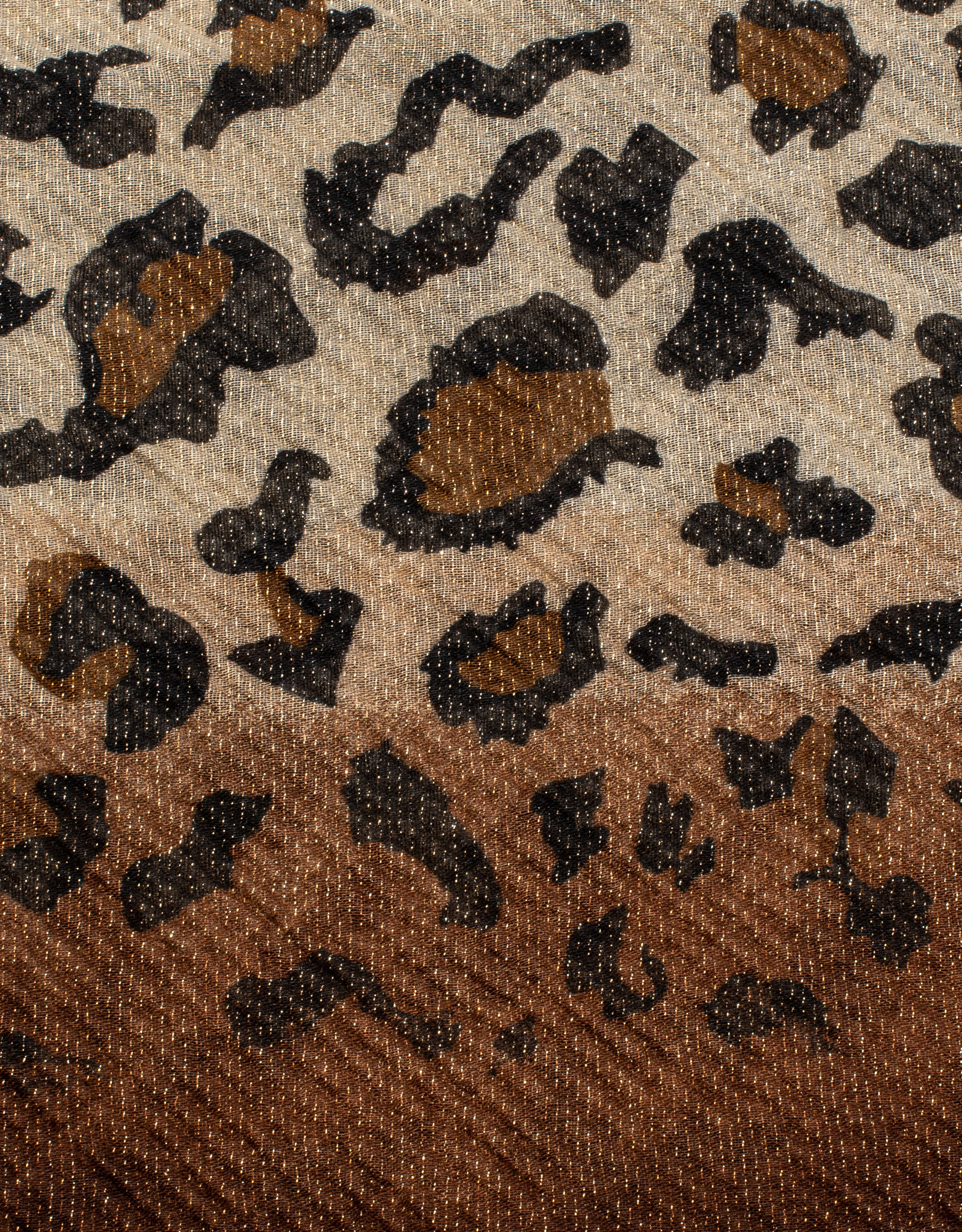 Cherie Cherie Pleated Shimmer Leopard Printed Scarf Pretied