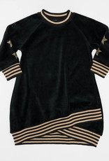FIVE STAR Five Star Velour Dress with Rhinestone Stars on Sleeve