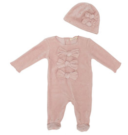 FRAGILE Fragile Velour Sprinkles 3 Bows Footie with Hat