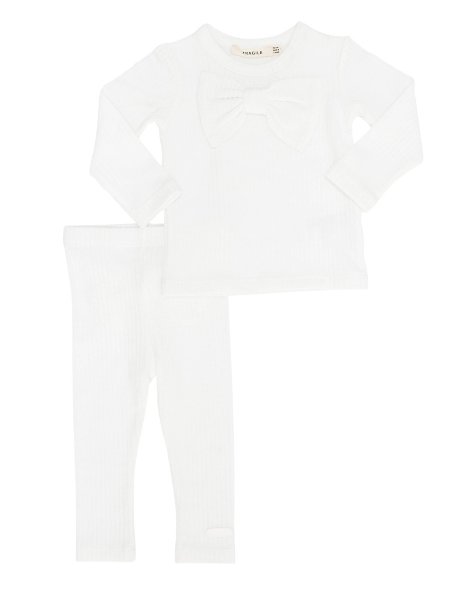 FRAGILE Fragile Ribbed Set (Top/Pants) with Bows