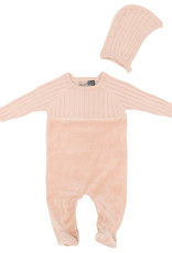 Small Moments Small Moments Ribbed Knit and Velour Footie with Bonnet
