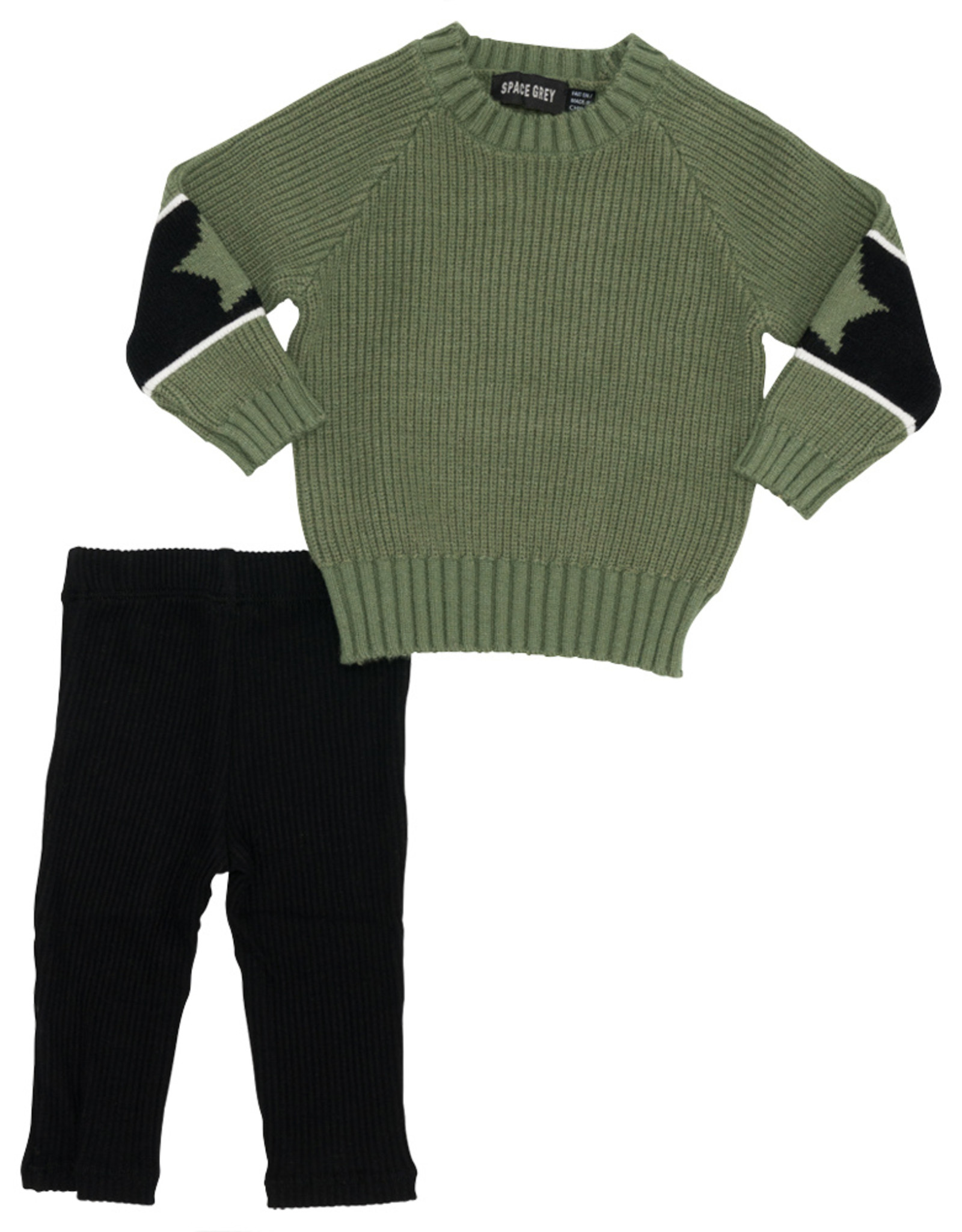 Space Grey Space Grey Sweater Set with Star on Sleeve