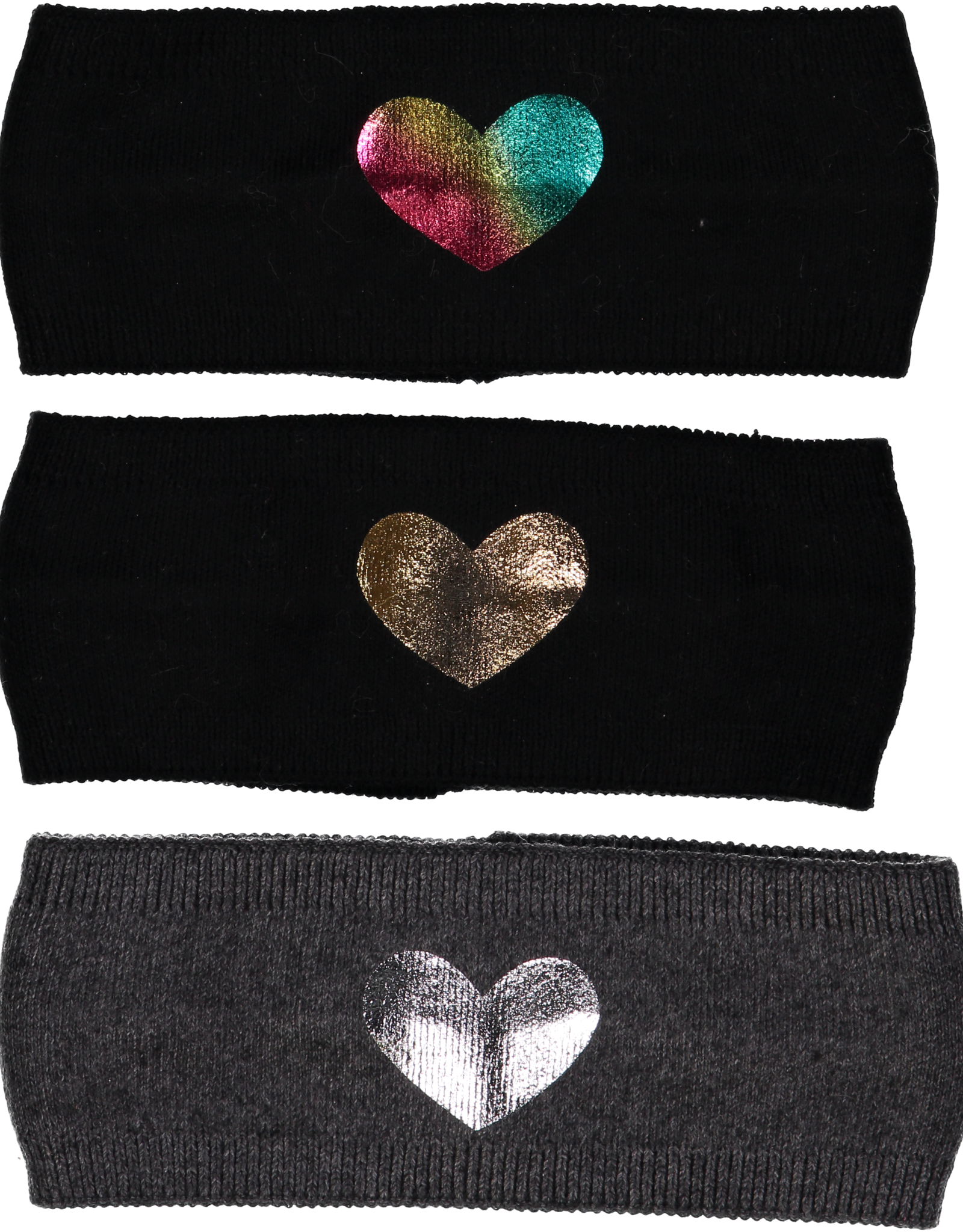 Dacee Dacee Knit Foil Heart Girls Headwrap