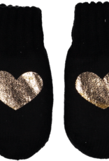 Dacee Dacee Knit Foil Heart Girls Mittens