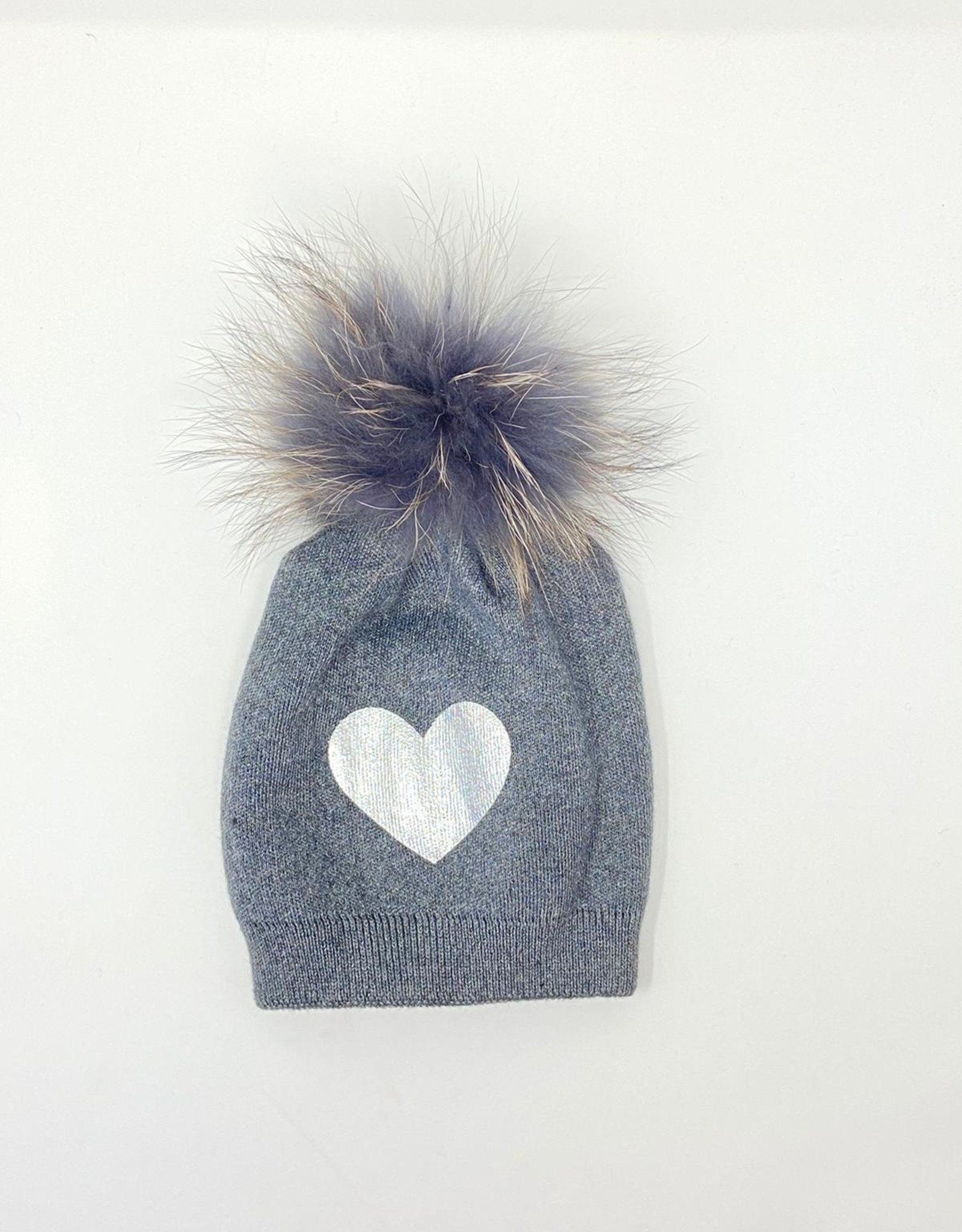Dacee Dacee Knit Foil Heart Girls Hat with PomPom