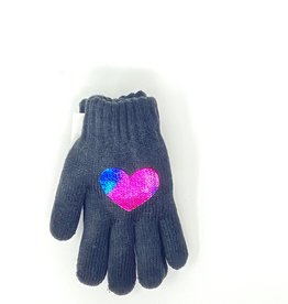 Dacee Dacee Knit Foil Heart Girls Gloves