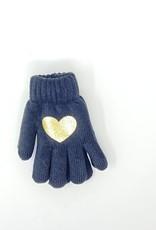 Dacee Dacee Knit Foil Heart Girls Gloves