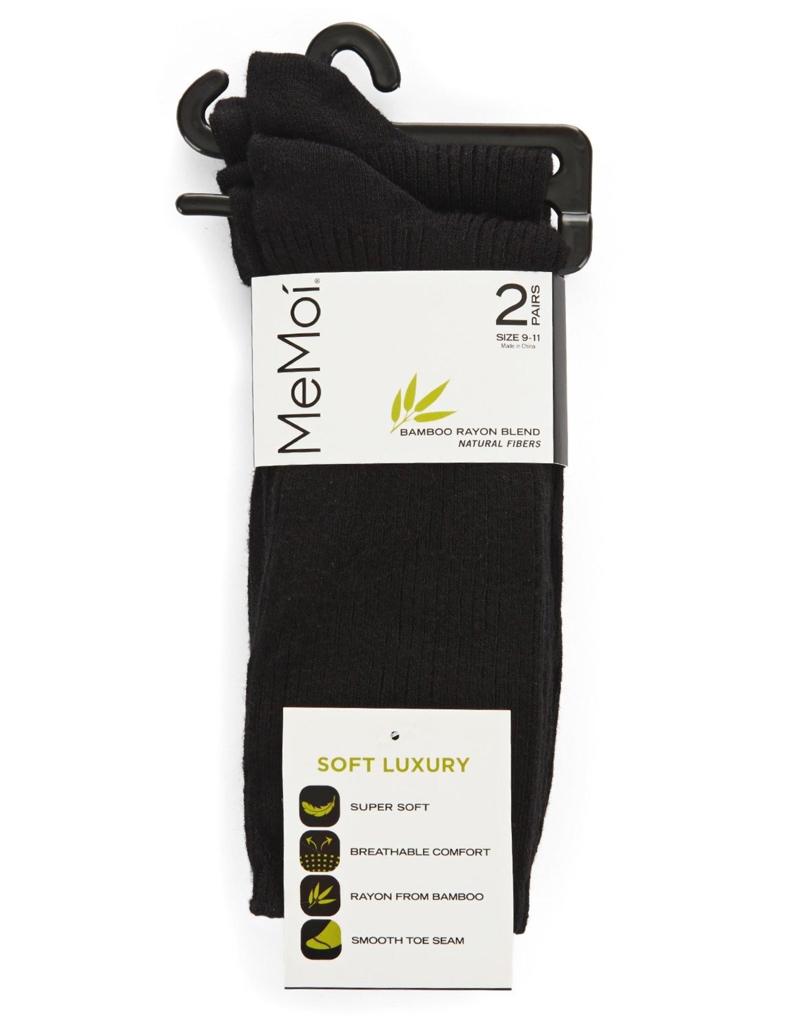 Memoi Memoi Bamboo Ribbed Crew Socks 2PK
