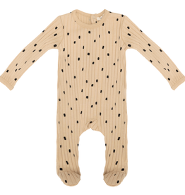 FRAGILE Fragile Ribbed Dotted Onesie Pajamas