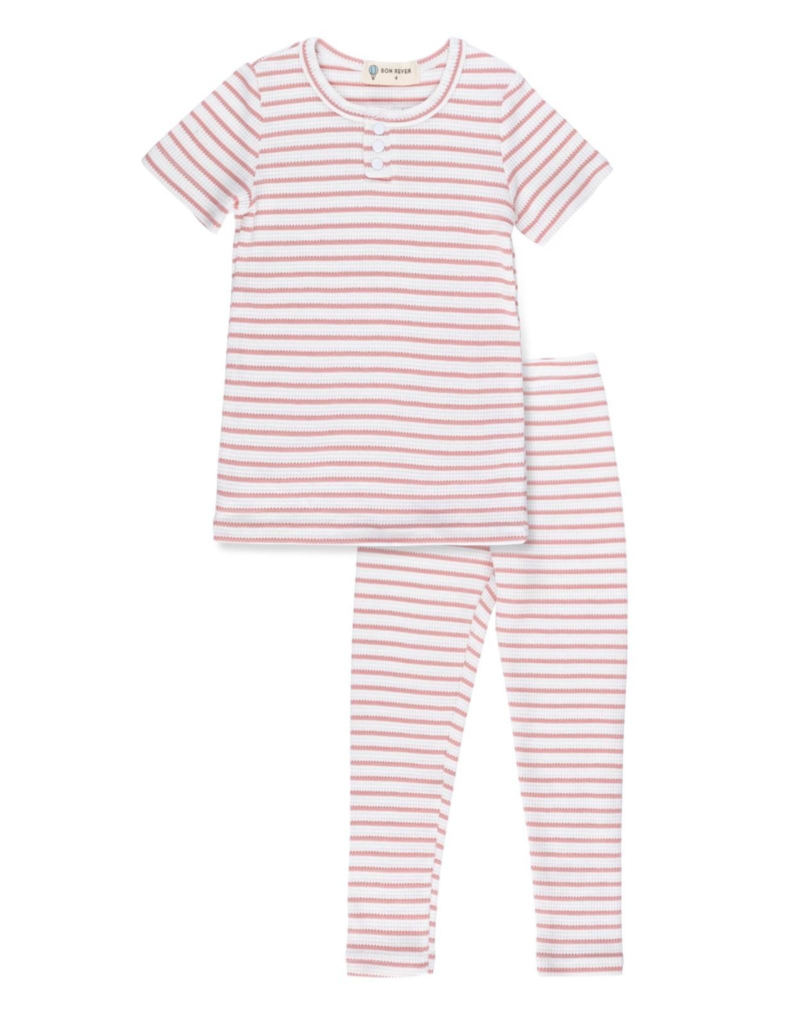 Bon Rever Bon Rever Waffle Striped Pajamas (Short Sleeve)