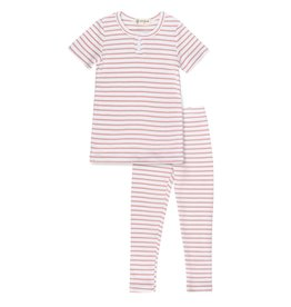 Bon Rever Bon Rever Waffle Striped Pajamas (Short Sleeve)