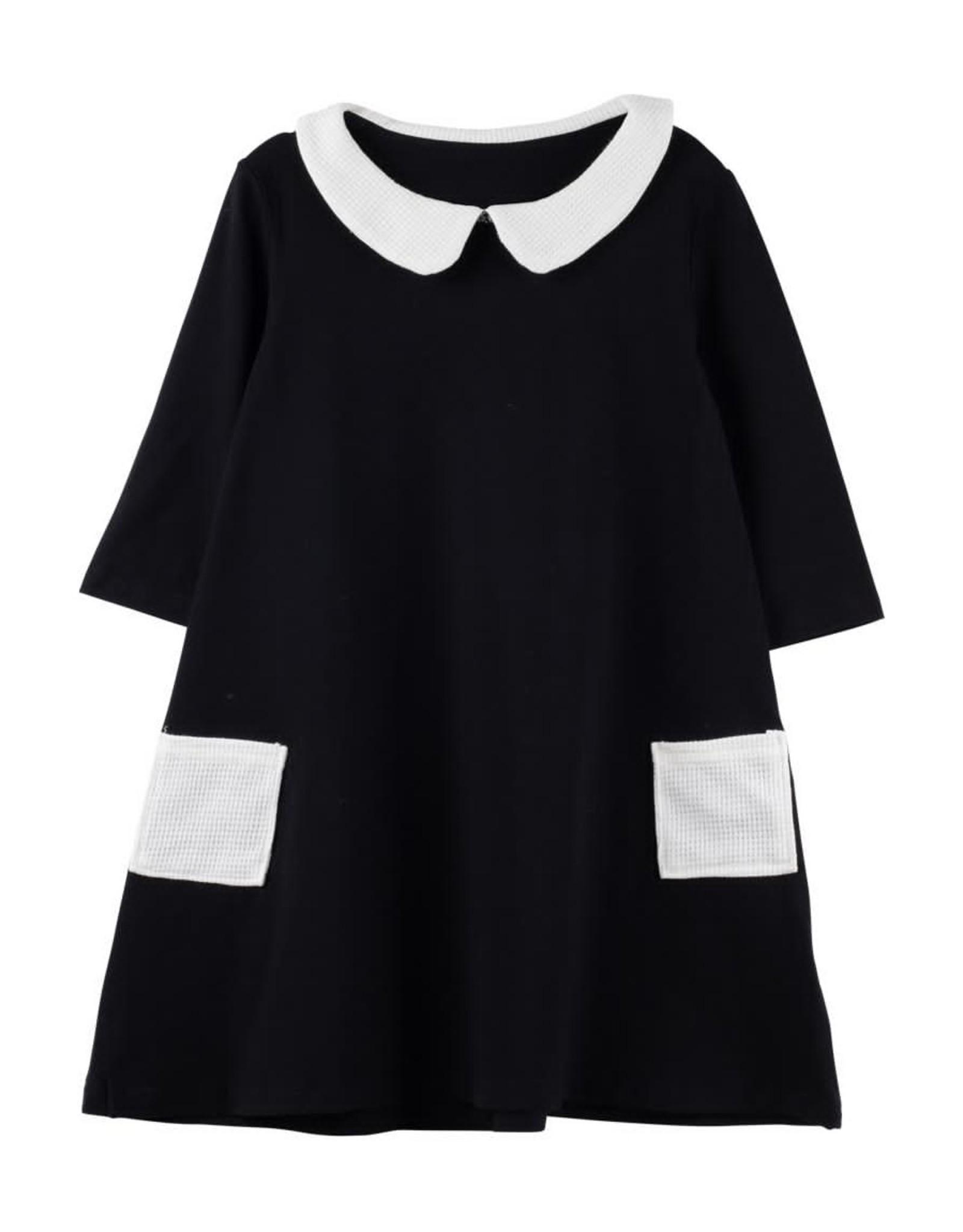Bon Rever Bon Rever Waffle Collar and Pockets 3/4 Sleeve Dress