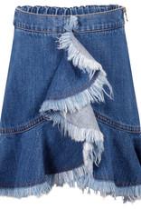 MeMe Basics MeMe Basics Ruffle Front Skirt with Fringe and Exposed Side Zipper