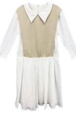 MeMe Teens MeMe Teens Dress with Collar and Shimmer Mock Vest
