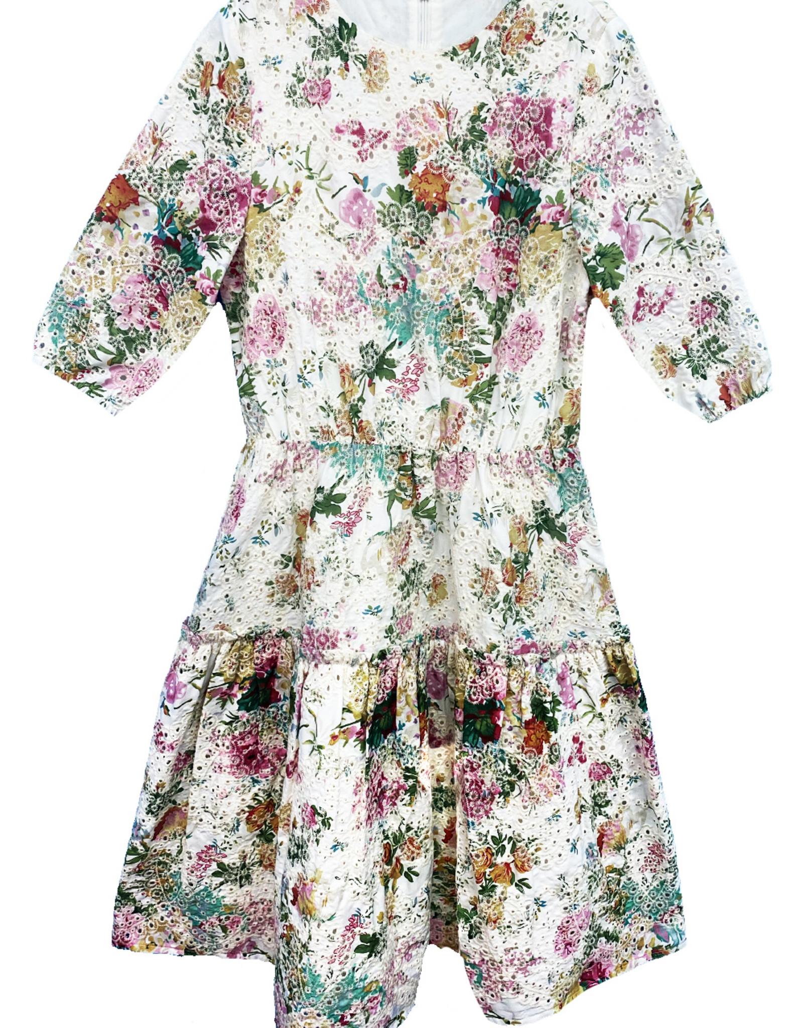 MeMe MeMe Floral Eyelet Dress with Tiered Bottom