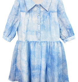 MeMe MeMe Tie Dye Button Front Dress with Collar