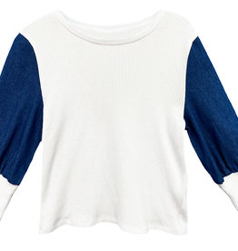 MeMe Basics MeMe Basics Rib Tshirt with Denim Sleeves and Rib Cuffs