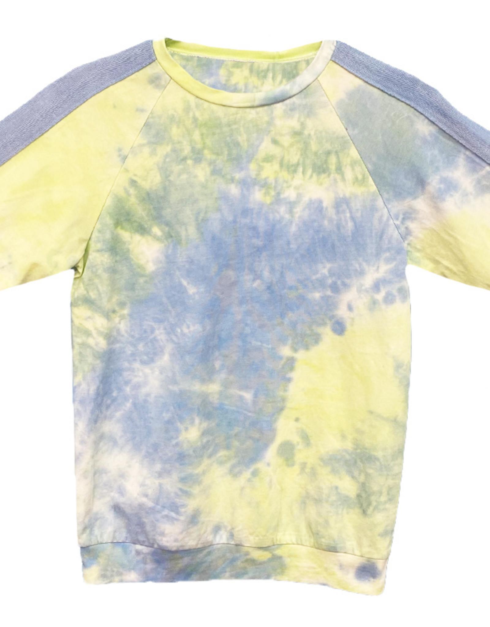 MeMe Basics MeMe Basics Tie Dye Tshirt with Chambray Side Stripes on Sleeves