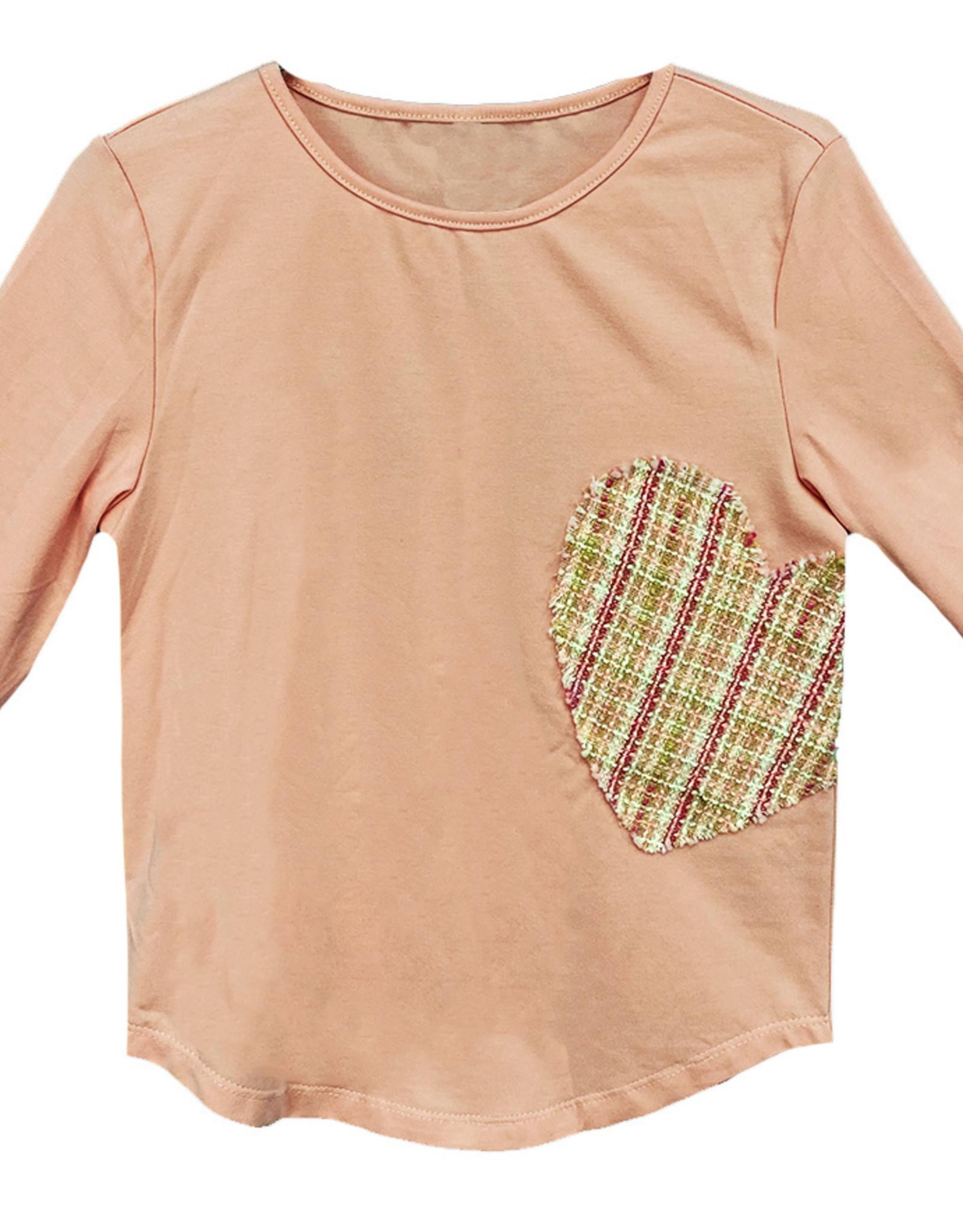 MeMe Basics MeMe Basics Tshirt with Heart Tweed Patch