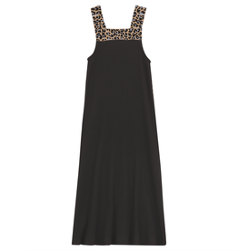 Cindy Cindy Ribbed Aline Maxi Jumper with Leopard Elastic Band