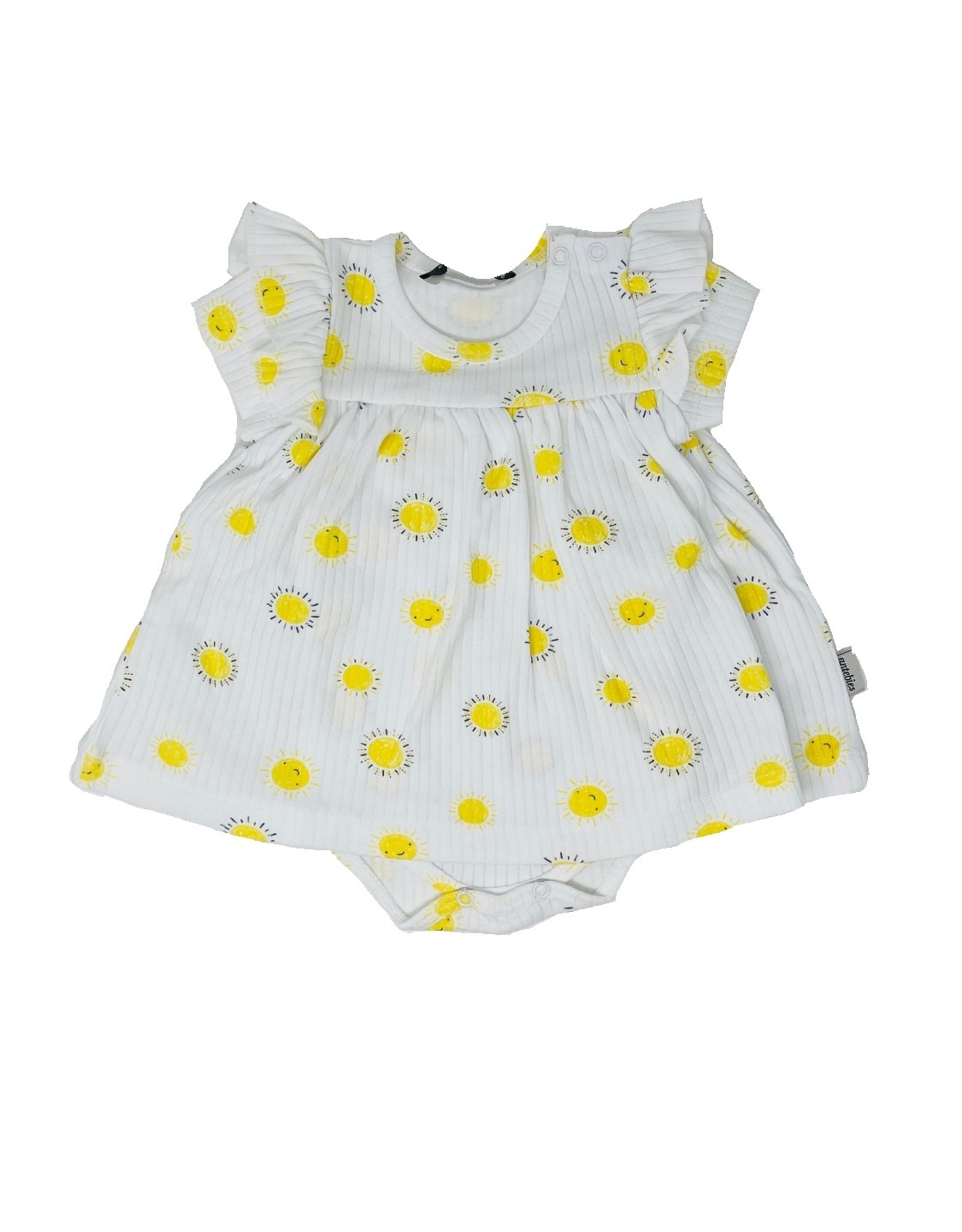 antebies antebies Ribbed Sunshine Onesie Dress