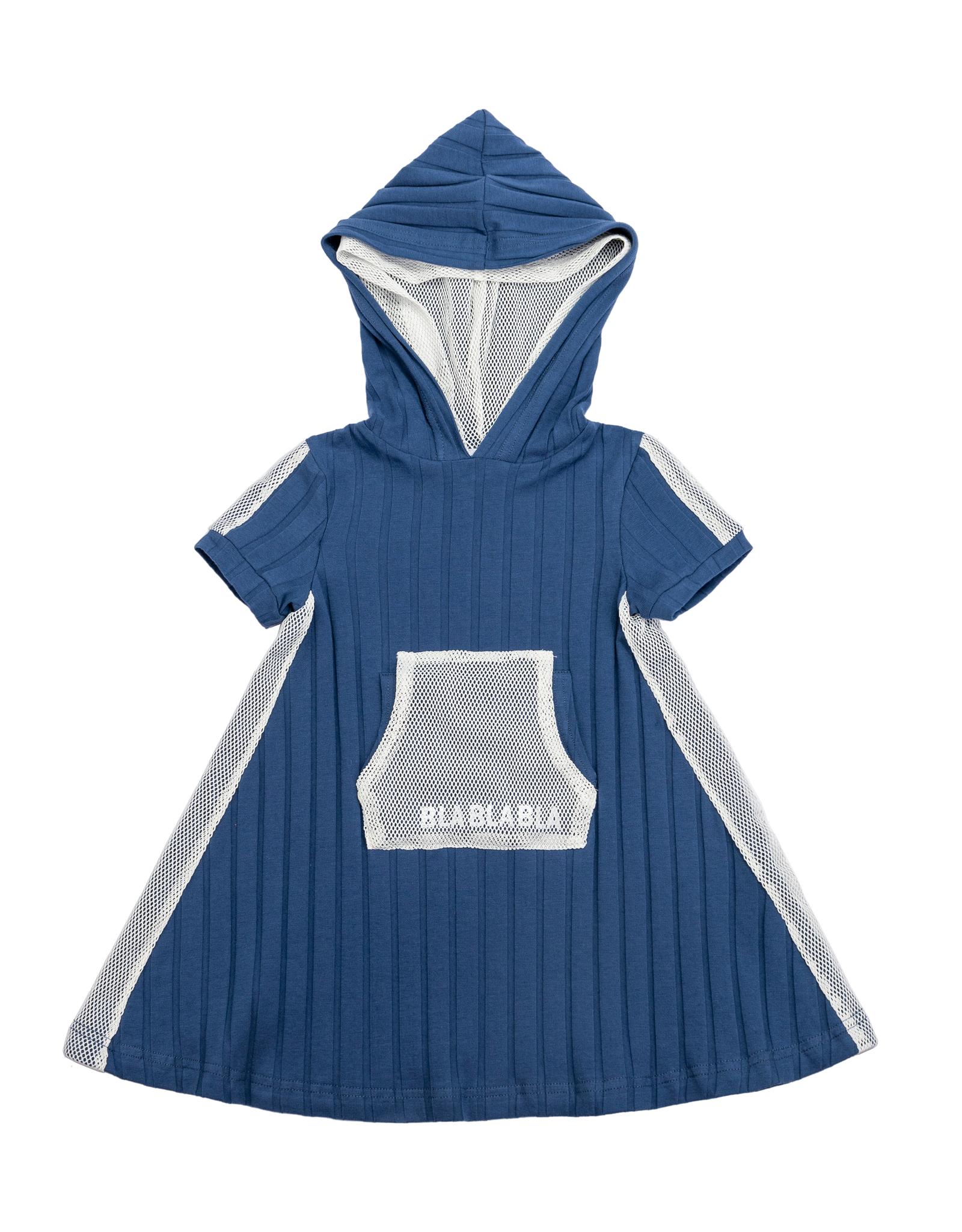Pronto Pronto Ribbed Dress with Net Kangaroo Pocket and Hood