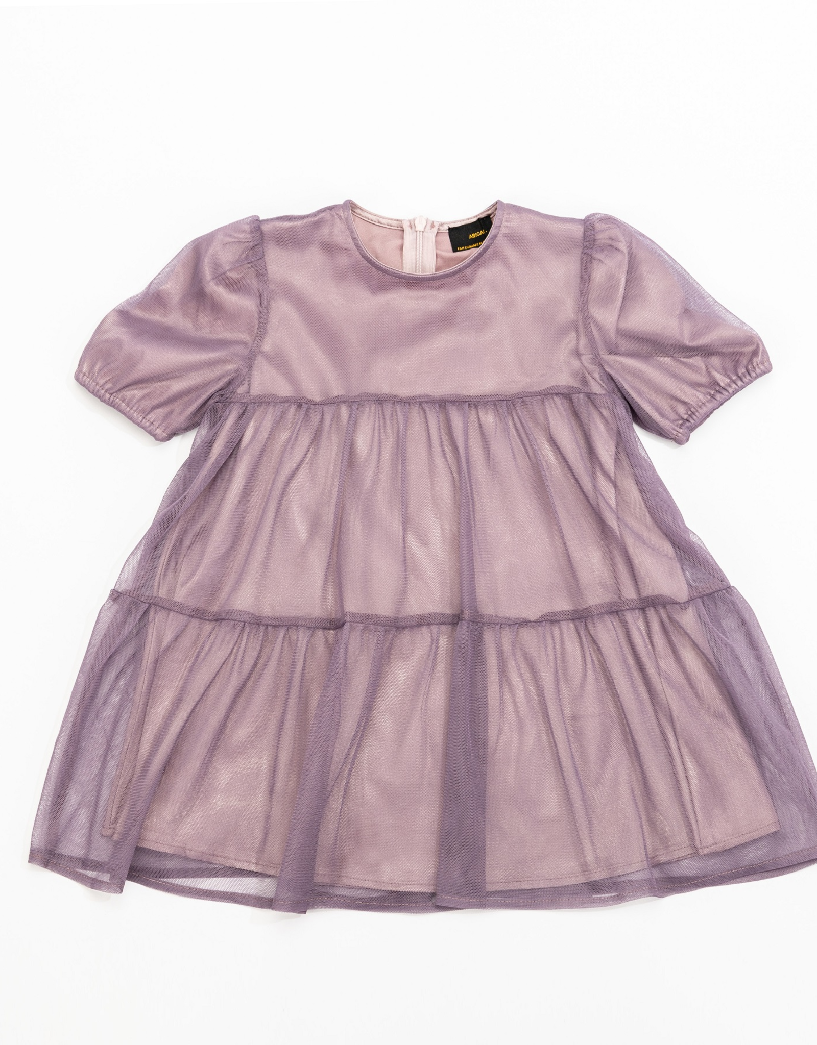 Abigail Abigail Tiered Dress with Tulle Overlay