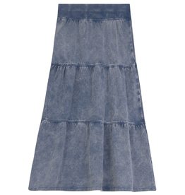 FIVE STAR Five Star Long Tiered Aline Denim Wash Skirt