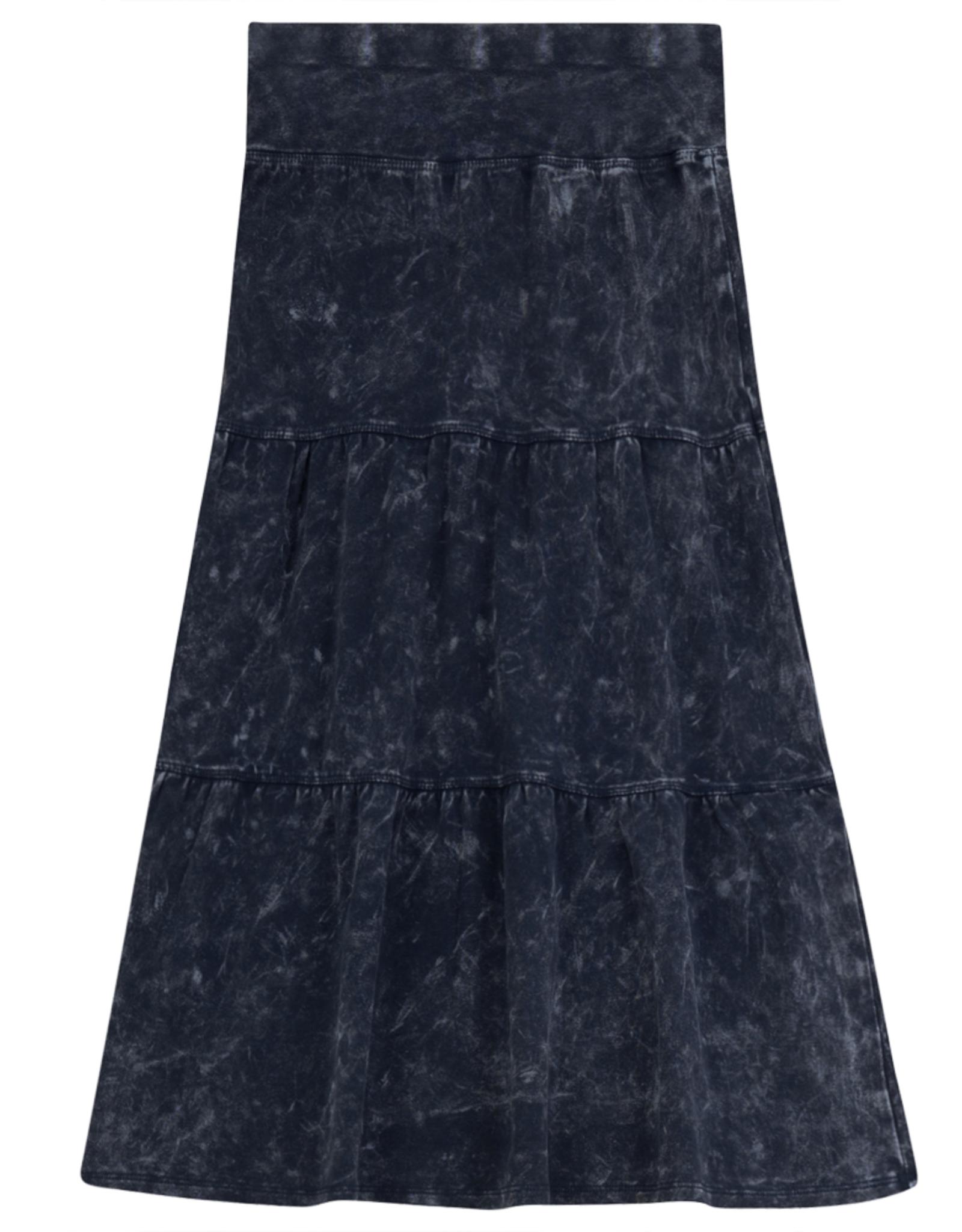 FIVE STAR Five Star Long Tiered Aline Denim Wash Skirt