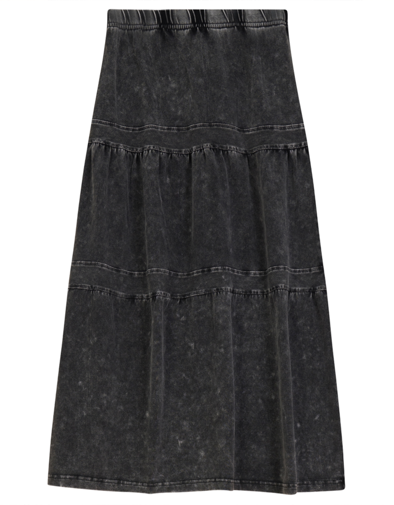 So What So What Long Tiered Denim Wash Skirt