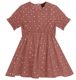 Abigail Abigail Dotted Dress with Ruched Sleeve