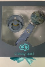 Classy Paci Classy Paci Painted Blue Circle Pacifier Clip with BIBS Pacifier Set