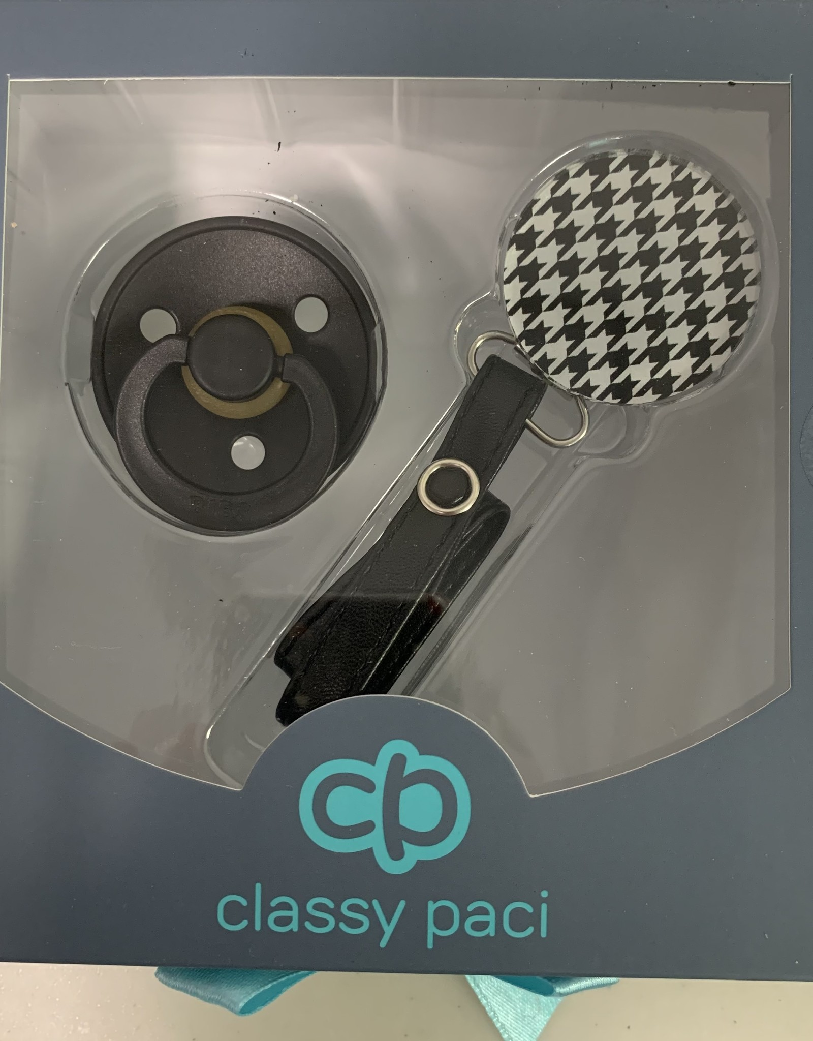 Classy Paci Classy Paci Houndstooth Circle Pacifier Clip with BIBS Pacifier Set