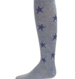 Memoi Memoi Acid Wash Denim Star Knee Sock