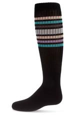 Memoi Memoi Metallic Sport Stripe Knee Sock