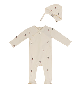 LUX LUX Cherry Footie Pajamas with Bonnet