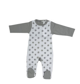 Chant De Joie Chant De Joie Polka Dot Footie with Solid Back