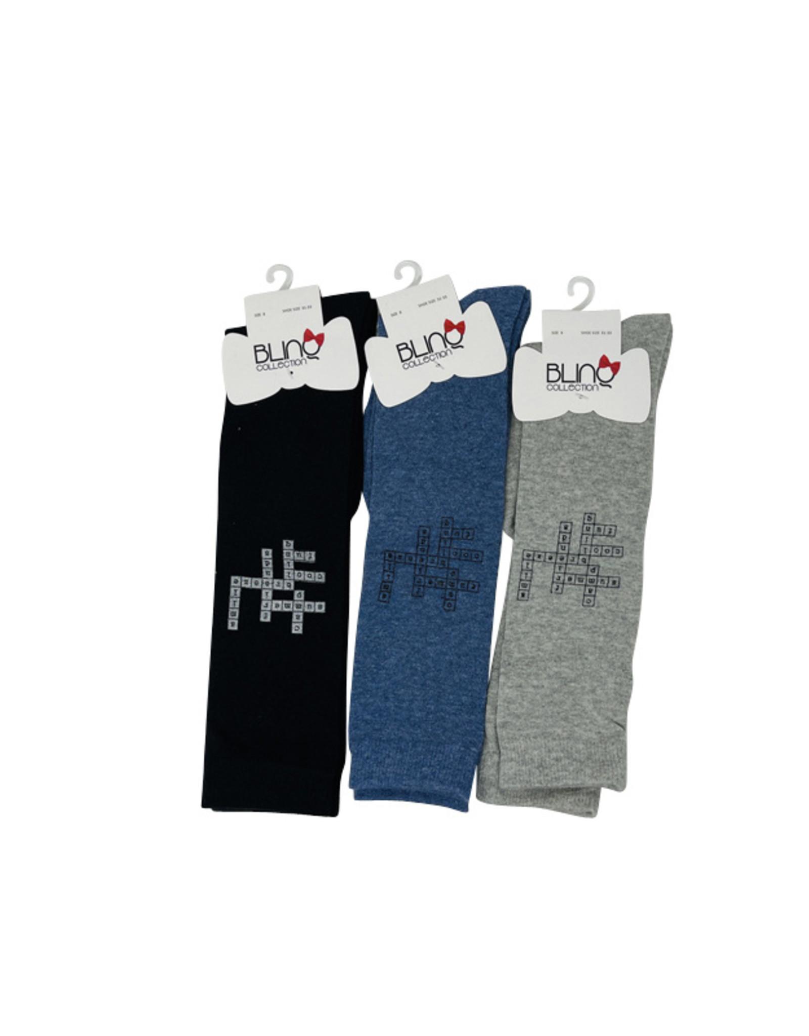 Blinq Blinq Crossword Knee Sock