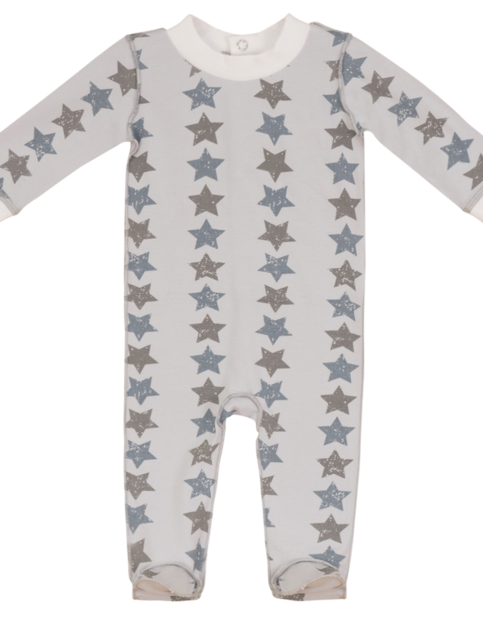 So Loved So Loved Heart/Star Footie Pajamas with Ribbed Cuffs