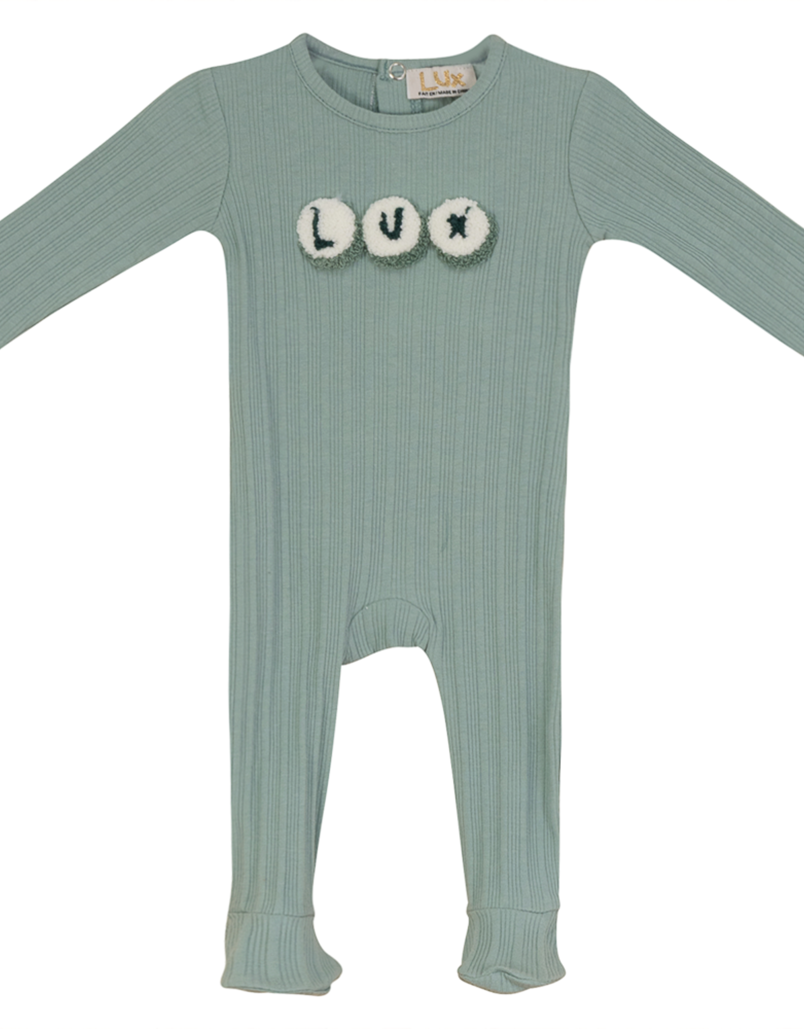 LUX Lux Ribbed Footie with LUX Letters